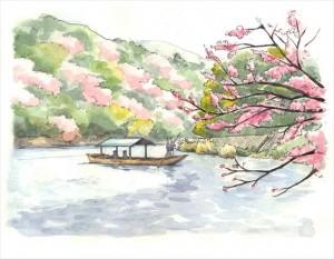 2015.3.25京都嵯峨嵐山風景画(桂川)