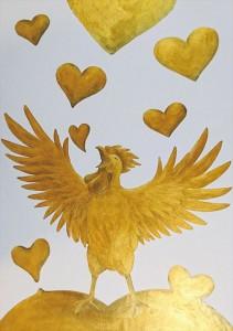 2017.7.30大手町テイクアブレイクの「黄金の鳥」「黄金の酉年」A golden bird-01