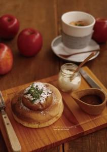 2018.1.15嵐山カフェ嵯峨野湯「林檎のパンケーキ、リンゴのポタージュラテ」